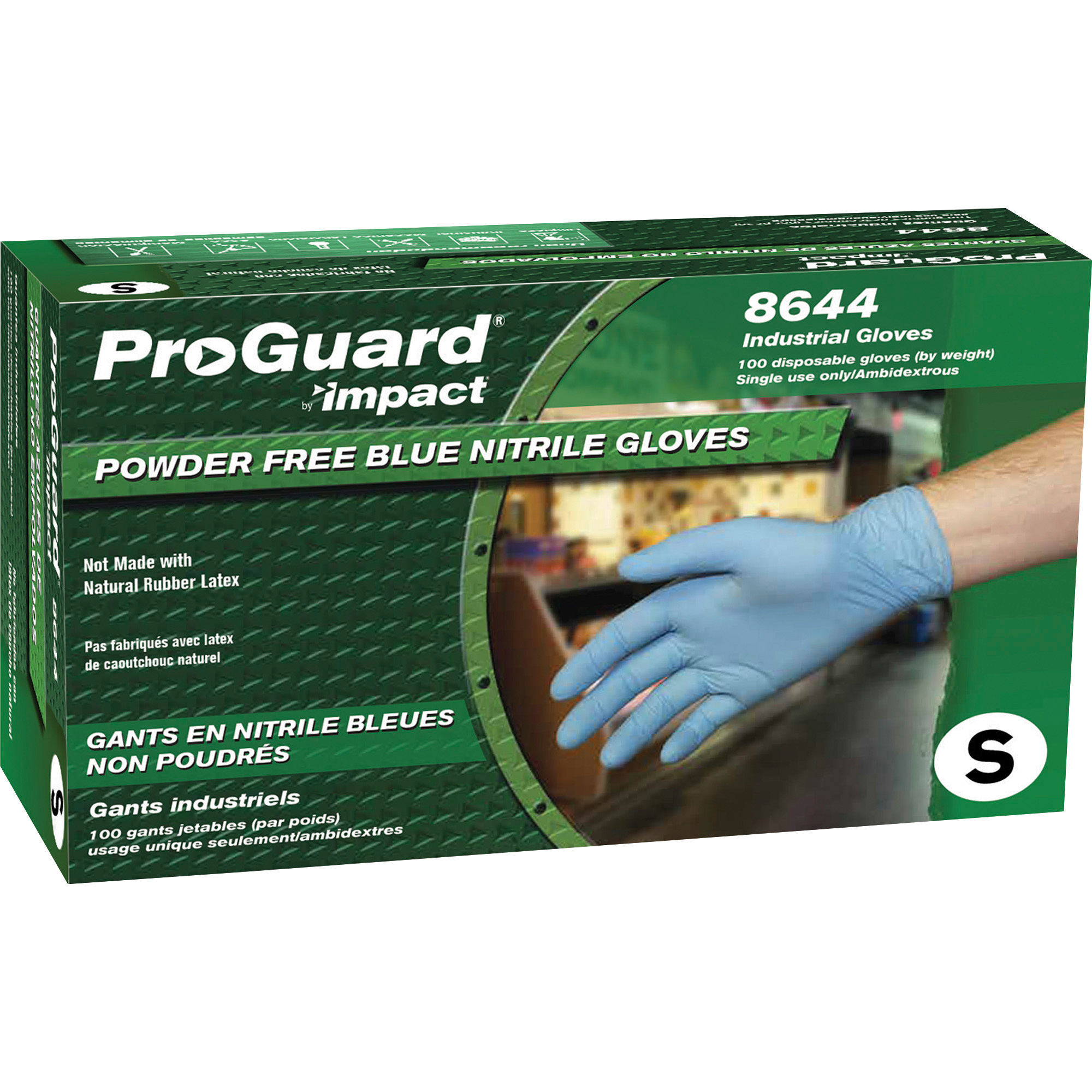 ProGuard PF Nitrile General Purpose Gloves - Blue - Small - 100/BX