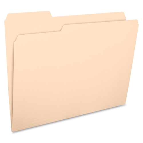 Business Source 1/3 Cut 1-ply Top Tab Manila Folders