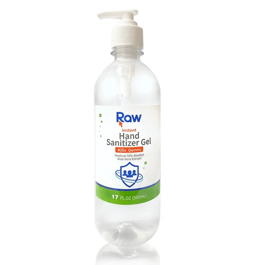 Hand Sanitizer Gel With Pump - Raw Brand - 500 Ml (17oz) - Pack of 20